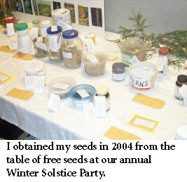 table of seeds at FLNPS meeting