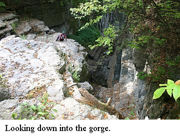 looking down into gorge